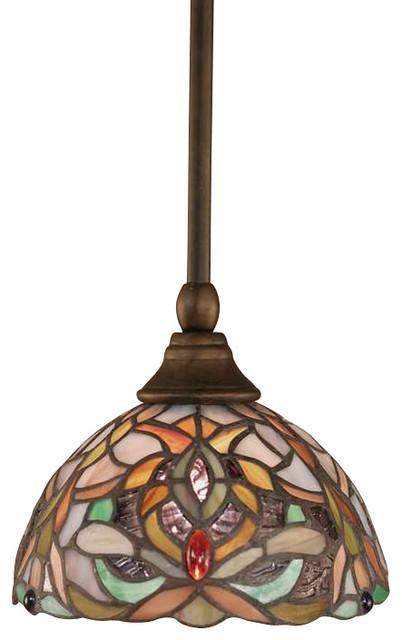 Toltec Lighting Stem Mini Pendant Tiffany Glass