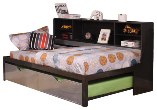 Silver Amp Black Twin Bed With Trundle Bookcase Storage