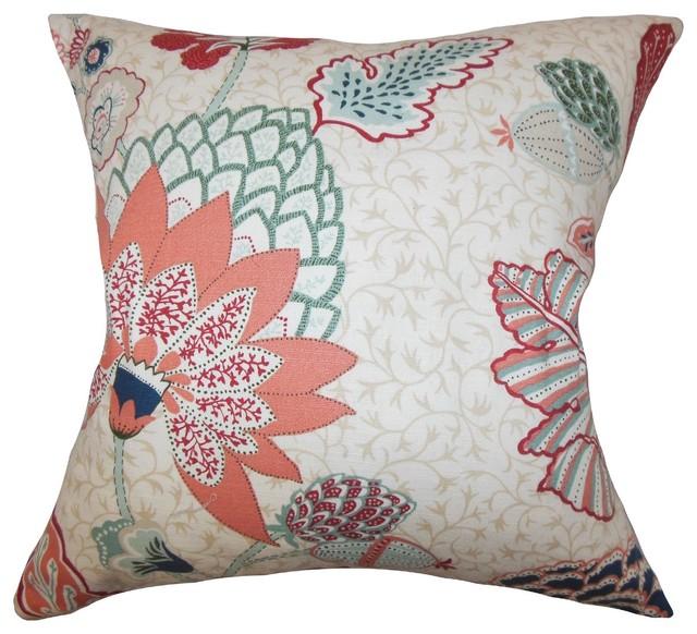 Traditional Decor Pillows : Ahna Floral Pillow Mint Red - Traditional - Decorative Pillows - by The Pillow Collection Inc.