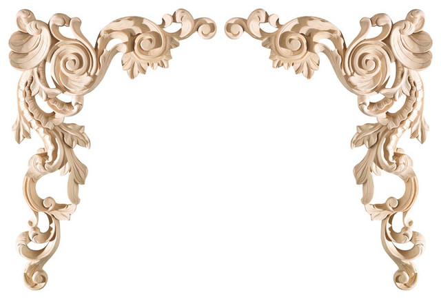 Large spanish corner appliques pair eclectic for Decorative wood onlays