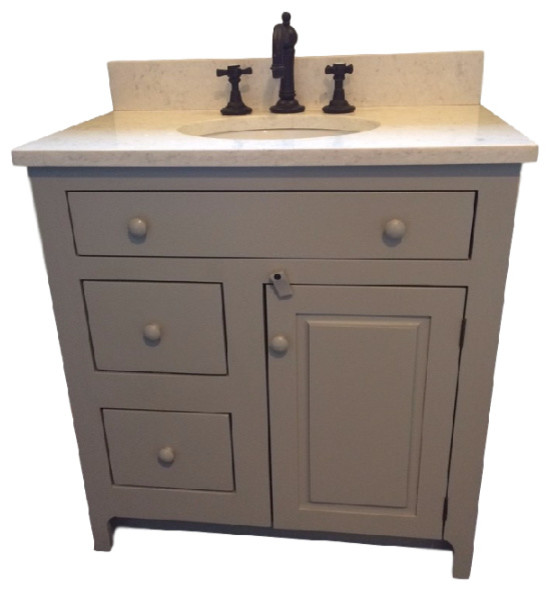 30 Pine Shaker Vanity 21 Depth Drawers Right Traditional Ba