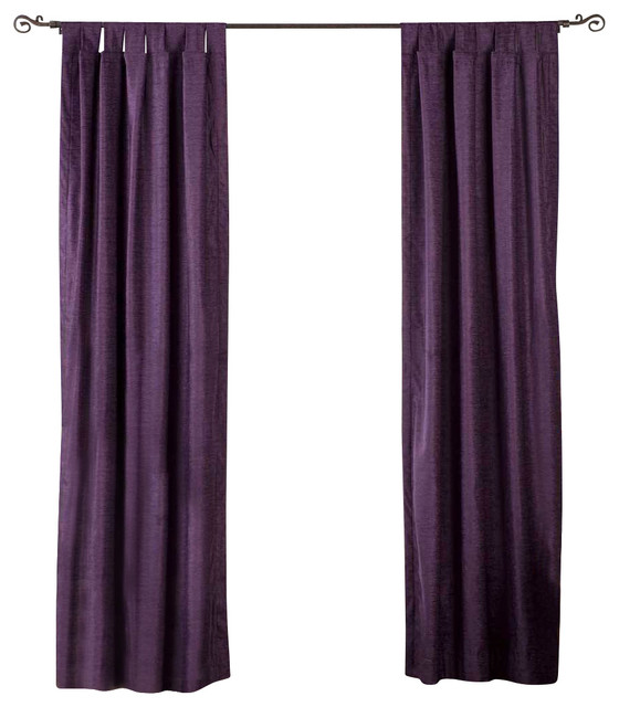 Purple Tab Top Velvet Curtain Drape Panel 43 X108 Traditional Curtains By Indian
