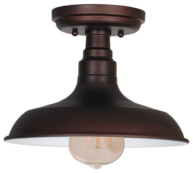 Kimball 1 Light Semi Flush Mount Bronze Farmhouse Flush mount Ceiling Li