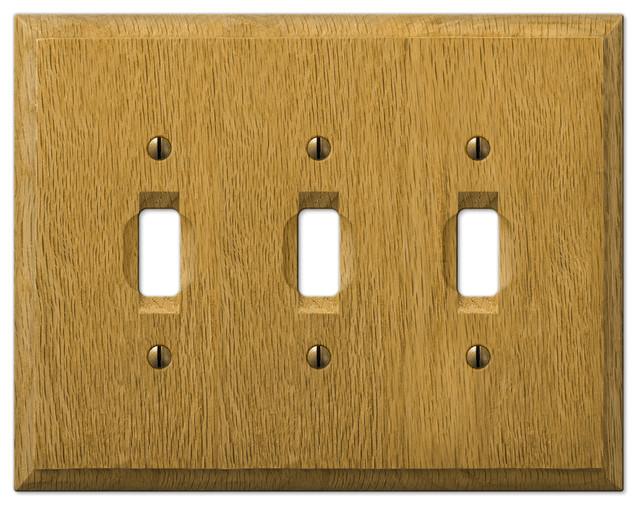 Carson Light Finish Oak Wood 3 Toggle Wall Plate