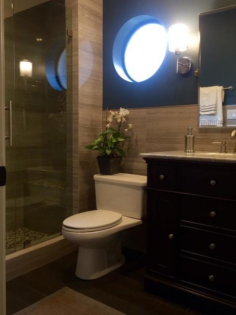 Wood ranch remodel contemporary bathroom los angeles for Modern ranch bathroom