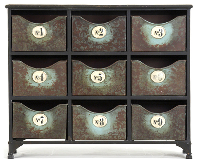 Reclaimed Industrial Iron 9 Drawer Storage Cabinet - Industrial - Storage Cabinets - by Kathy ...