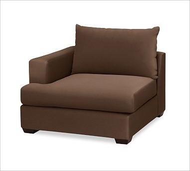 Hampton Upholstered Left Armchair Brushed Canvas Espresso