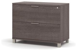 Bestar Pro-Linea Assembled Lateral File, Bark Grey - Contemporary - Filing Cabinets - by Beyond ...