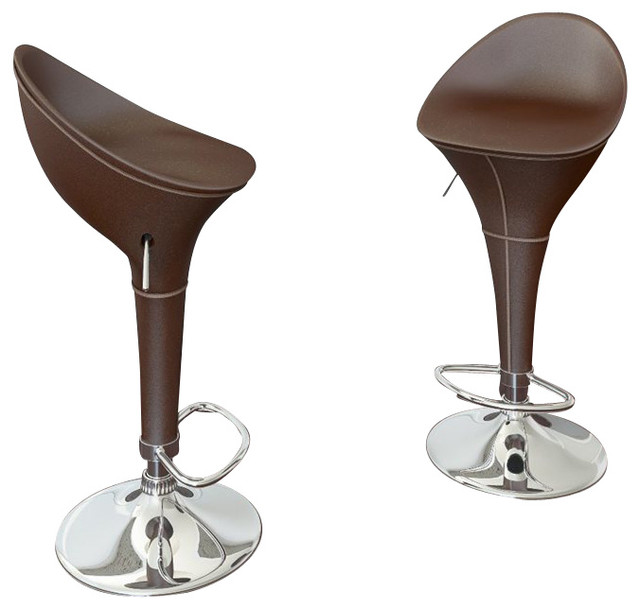 CorLiving Round Styled Bar Stool In Brown Leatherette Set