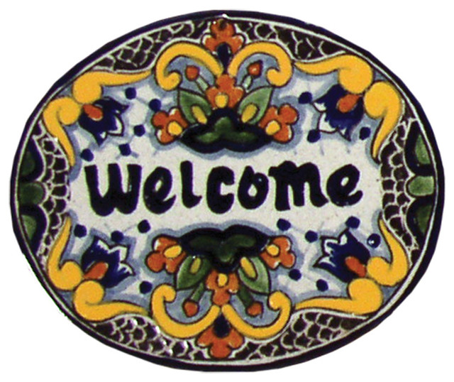 Tile welcome plaque in zinnia small mediterranean for Mediterranean house numbers