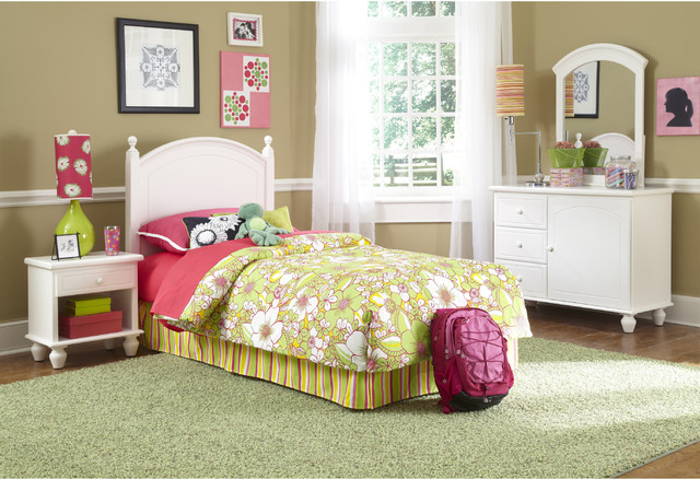 Powell White 4 Piece Bedroom In A Box Set Contemporary Kids Bedroom Furni