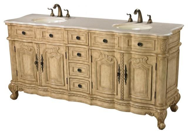 Antique Cream Double Vanity Unit - Traditional - Bathroom ...