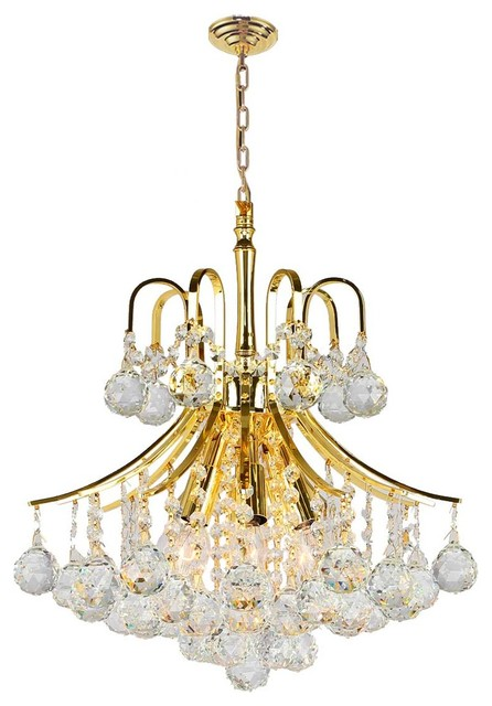 Empire 6 Light Gold Finish and Clear Crystal Chandelier 16