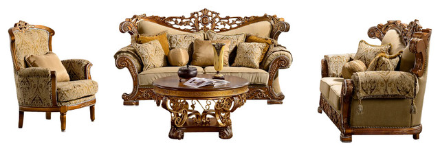 Grand European Design Gold Fabric Upholstered Living Room Sofa Set Traditional Living Room