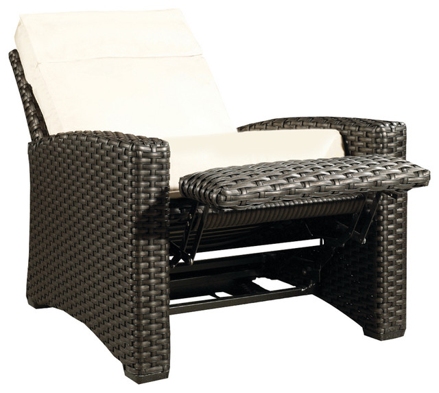 Hauser Beach House All Weather Wicker Recliner with Cushion Transitional