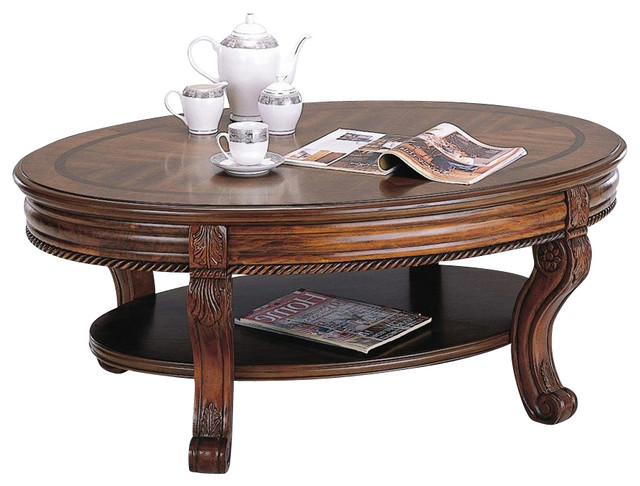 Athens Oval Cocktail Table In Cherry Finish Contemporary Coffee Tables