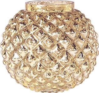 Gold Mercury Glass Vase Bubble Design Contemporary
