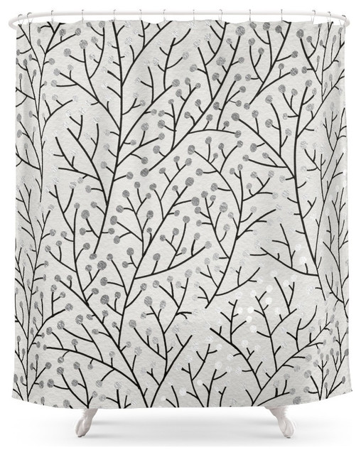 Society6 Berry Branches Silver And Black Shower Curtain Shower Curtains By Society6