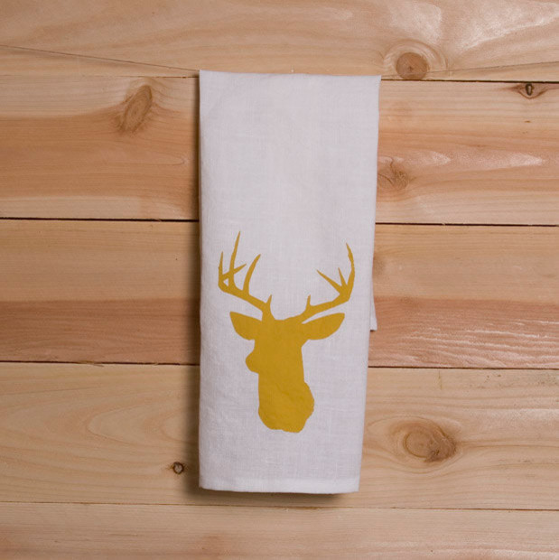 Linen Tea Towel With Stag Deer Head By TangerineHome