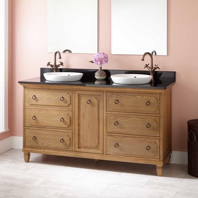 Rustic double sink bathroom vanities for Rustic bathroom vanities and sinks