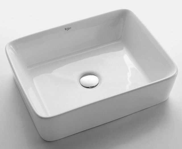 Kraus Kcv 121 White Rectangular Ceramic Sink Modern