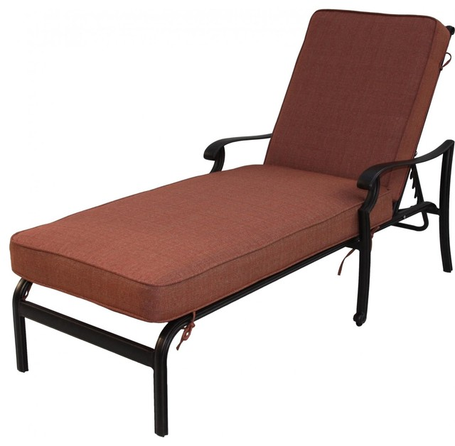 Darlee st cruz cast aluminum patio chaise lounge for Cast iron chaise lounge