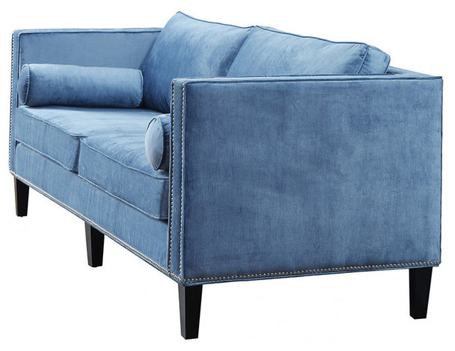 Cyprian blue velvet sofa midcentury chaise longue by for Blue velvet chaise