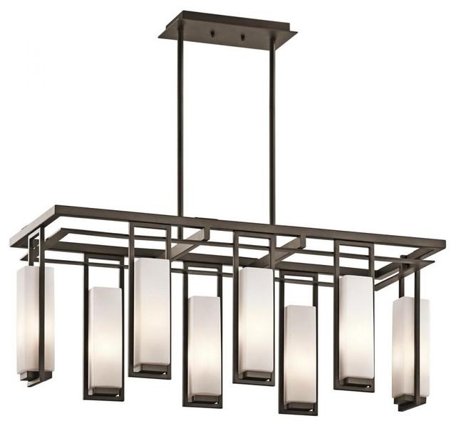 Linear Dining Room Lighting: Kichler Perimeter 42935OZ 8-Light Olde Bronze Linear Chandelier