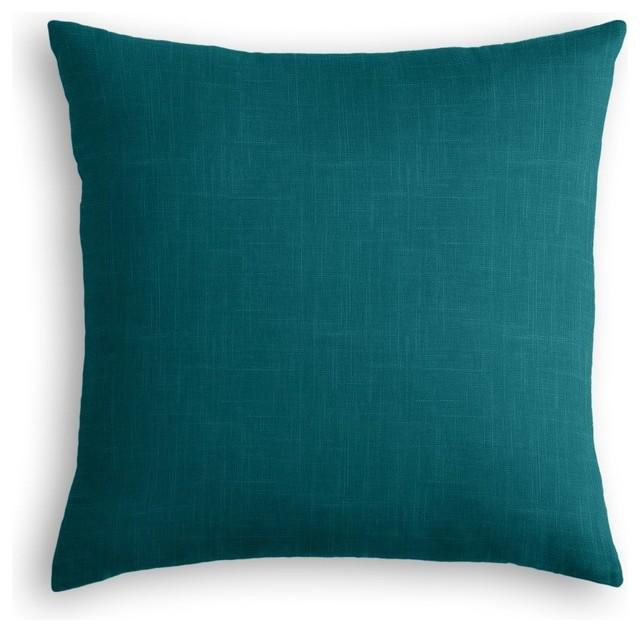 Dark Teal Linen Throw Pillow - Contemporary - Decorative Pillows - by Loom Decor