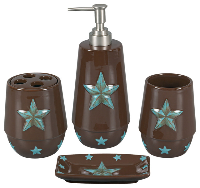 4 piece turquoise star bathroom set bathroom accessory for Aqua bathroom accessories sets