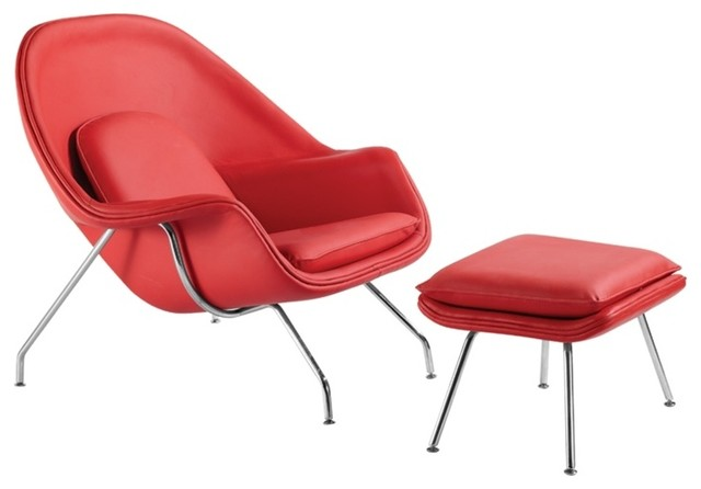 woom red leather chair and ottoman modern armchairs