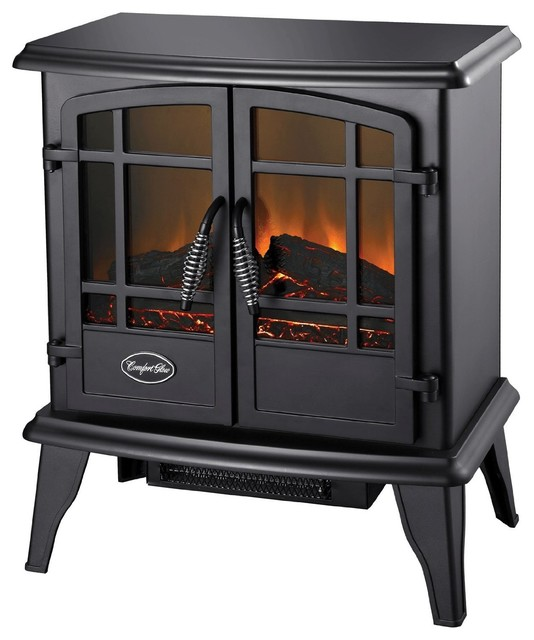 Freestanding Cast Iron Stove And Tv In Living Room