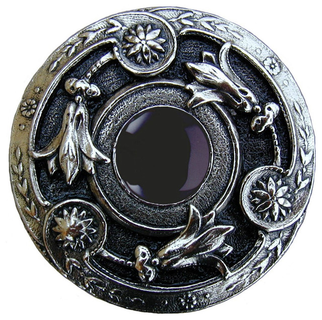 Jeweled Lily Knob (bright nickel with onyx) - Traditional - Cabinet And Drawer Knobs - by ...