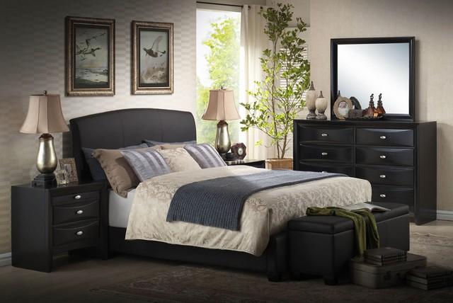 Black Bi Cast Vinyl Bedroom Set Modern Bedroom Furniture Sets