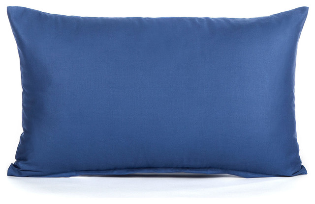Solid Dark Blue Lumbar Pillow Cover 12x20 Contemporary