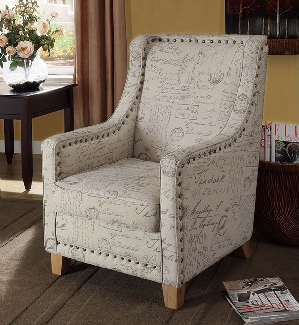 Armen Living Edmond Vintage French Fabric Chair