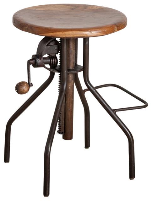 Adjustable Hand Crank Bar Stool Industrial Bar Stools