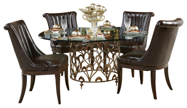 American Drew Bob Mackie 7 Piece Round Glass Dining Room Set Traditional
