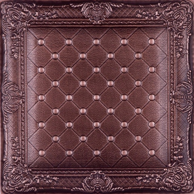 Dct lrt03 faux leather ceiling tile chocolate ceiling for Faux leather floor tiles