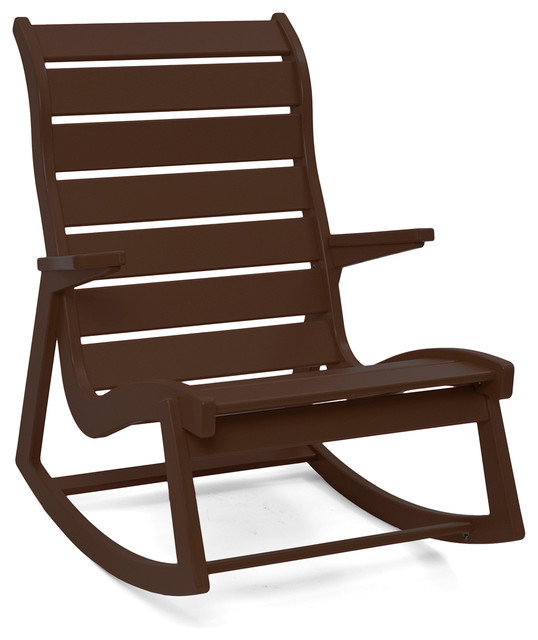 Rapson Outdoor Rocking Chair High Back Chocolate Brown Contemporary Out