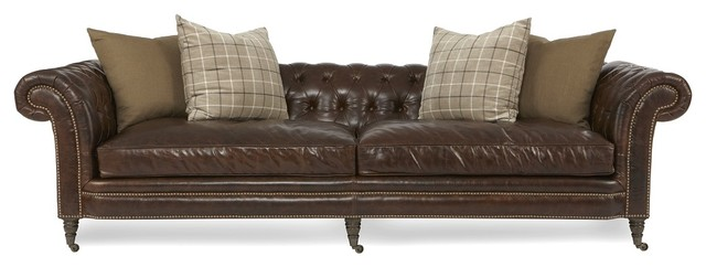 Brown Leather Sofa Button Tufted
