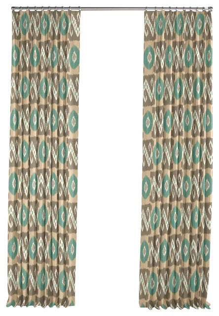 Tan And Teal Handwoven Ikat Pleated Curtain Single Panel