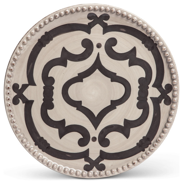 GG Taupe / Gray Ogee Dinner Plates, Set Of 4