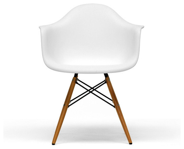 White Plastic Mid Century Modern Shell Chair Set Of 2