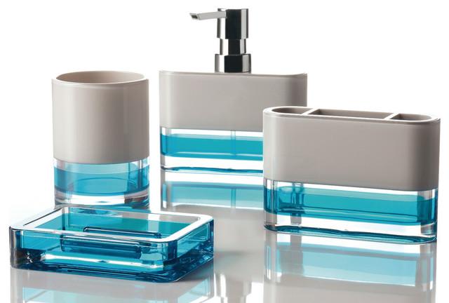 Float 4 piece bathroom accessory set turquoise for Turquoise bathroom set