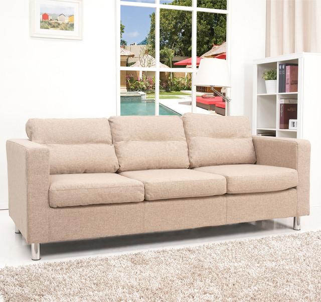Detroit camel fabric sofa contemporary sofas by for Detroit sofa company