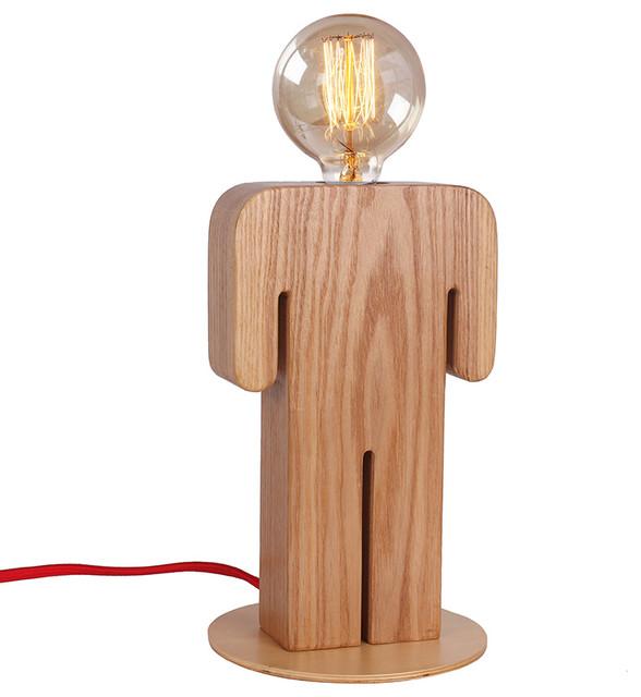 Wooden Indoor Home Lighting Desk Lamp With Unique Boy S