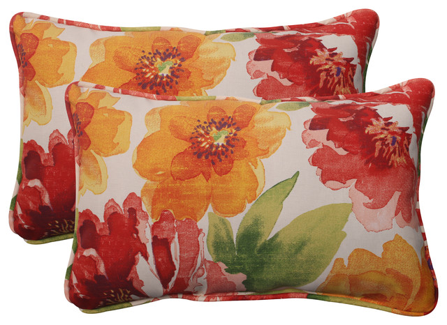 Primro Orange Rectangle Throw Pillow, Set of 2 - Traditional - Outdoor Cushions And Pillows - by ...