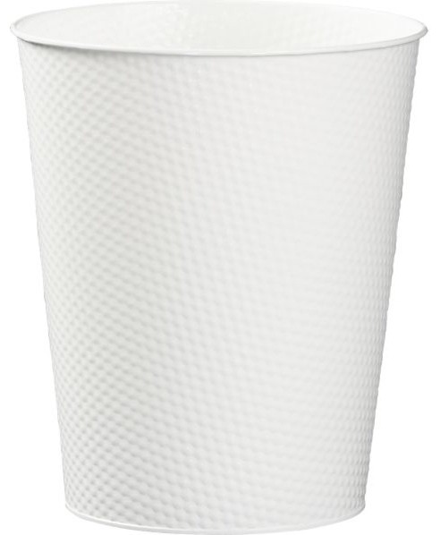 White 3 gallon waste can modern wastebaskets by crate barrel - Modern wastebasket ...