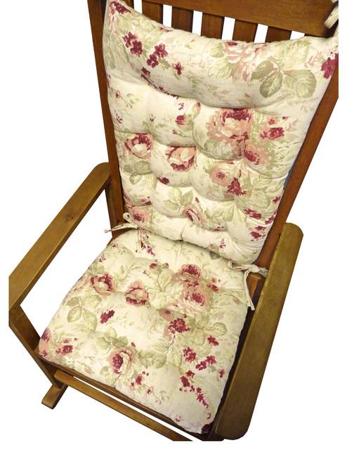 Shabby Chic Rocking Chair Pads : Shabby Chic Rose Rocking Chair Cushions - Traditional - Seat Cushions - other metro - by Barnett ...